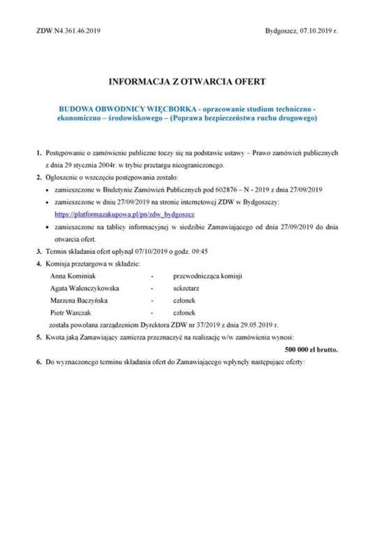 Przetarg nabudowę wywalczonej przeze mnie Obwodnicy Więcborka został rozstrzygnięty pozytywnie wygrała go dziś firma ARCHIDROG Witold Orczyński zPoznania !