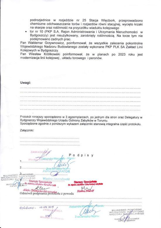 Protokół pokontrolny stacji PKP Więcbork z 10. 09. 2019 r. z ujawnieniem wykonanych prac remontowych na dworca i stacji PKP Więcbork wywołanych na mój wniosek oraz z potwierdzeniem wywalczonej przeze mnie rewitalizacji LK 281 i przebudowy całej stacji PKP Więcbork w 2023 r. z budową nowych peronów na stacji PKP Więcbork włącznie - Tomasz Roman Bracka