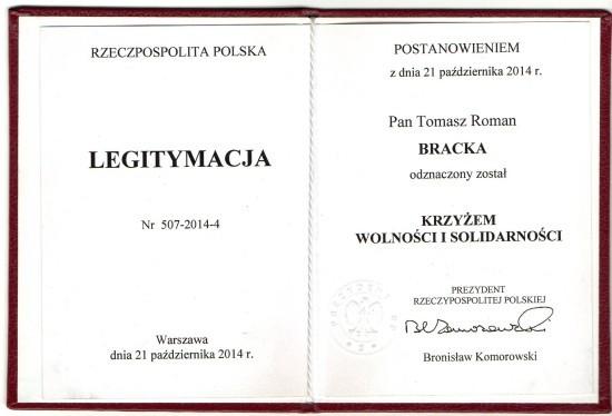 Tomasz Roman Bracka odznaczony przez Prezydenta RP Krzyżem Wolności i Solidarności na wniosek Prezesa IPN