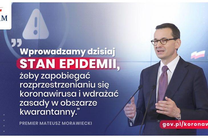 Premier Mateusz Morawiecki: Wprowadzamy dzisiaj stan epidemii❗️