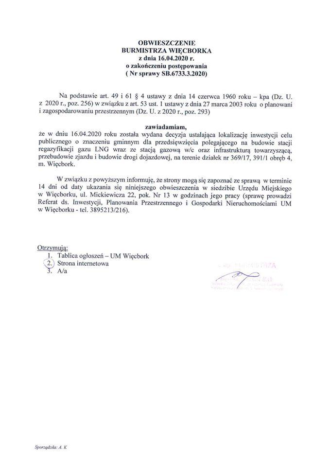 Od dziś 1 maja 2020 r. ta ostatnia decyzja niezbędna dogazyfikacji ziemnej 80 ulic Więcborka jest prawomocna - Tomasz Roman Bracka
