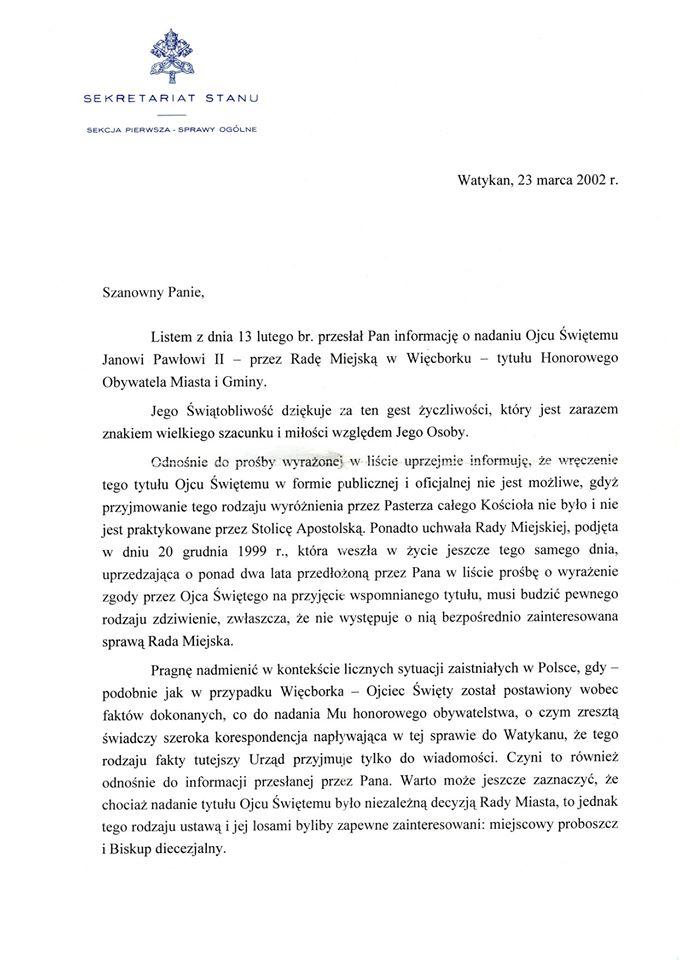 Dziś w100 rocznicę urodzin Świętego Jana Pawła II ujawniam dokument sprzed 18 lat, gdyOjciec Święty Jan Paweł II przyjął zmoichrąk Tomasza Bracka Honorowe Obywatelstwo Więcborka wWatykanie 23 marca 2020 r.. Poniżej dokument przyjęcia Honorowego Obywatelstwa Więcborka.