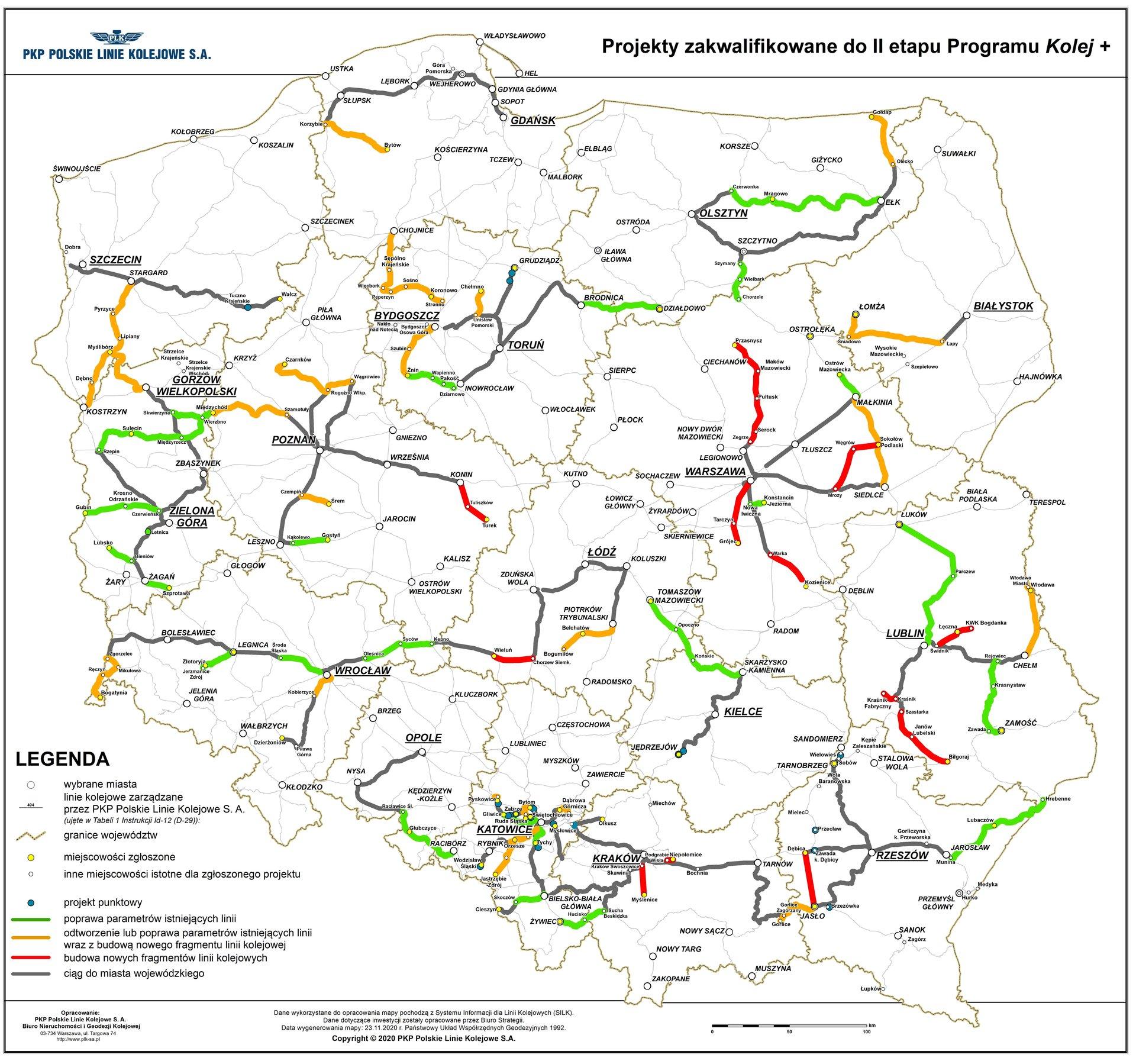 Wygraliśmy PKP Polskie Linie Kolejowe S.A. zakończyły ocenę formalną wniosków zgłoszonych doProgramu Uzupełniania Lokalnej iRegionalnej Infrastruktury Kolejowej Kolej + do2028 roku. 79 zgłoszonych propozycji wtym zapowiadaną przeze mnie nowa linia kolejowa relacji Bydgoszcz - Koronowo - Sośno - Pęperzyn - Więcbork - Sępólno Kr - Kamień K. - Chojnice, które spełnia kryteria icele Programu ijest zakwalifikowana doII etapu naboru,co potwierdza załączona mapa. Tomasz Roman Bracka