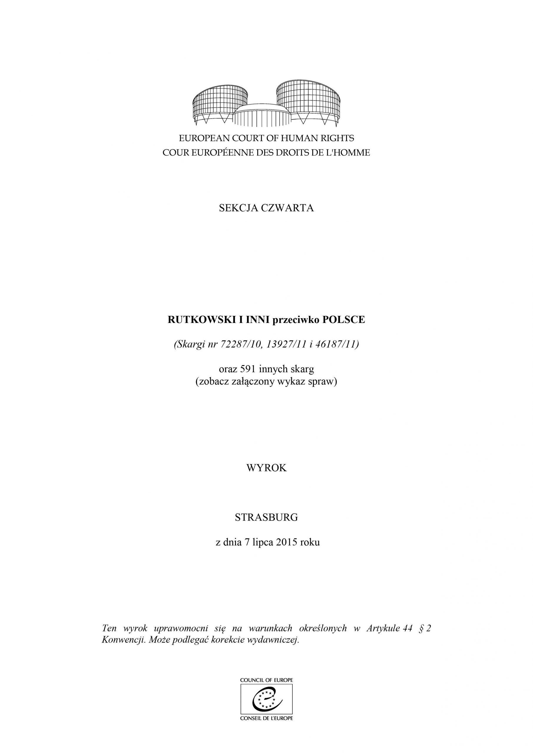 Pokazałem jak się zwycięża wEuropejskim Trybunale Praw Człowieka wStrasbourgu wygrywając zbyłym Rządem RP iProkuratorią Generalną Skarbu Państwa orazzMSZ zmianę prawa oprzewlekłości postępowań sądowych wPolsce i591 spraw wtym 5 spraw moichTomasza Romana Bracka imojejMamy Renaty Bracka ! Poniżej dowód wzałączonym linku, gdzie Trybunał Konstytucyjny RP publikuję mójiMamy zwycięski Wyrok zRządem RP, Prokuratorią Generalną RP, MSZ izgniłym sądownictwem polskim wETPCz wStrasbourgu zdnia 7 lipca 2015 r. mojenazwisko T. Bracka napoz 279 imojejmamy R. Bracka napoz 281 zwygranymi sprawami. Tym wyrokiem doprowadziłem zMamą Renatą Bracka dozmiany prawa oprzewlekłości postępowań sądowych iadministracyjnych wPolsce, podwyższając kwotę zadośćuczynienia zakażdy rok opóźnienia procesu sądowego wPolsce orazpostępowań administracyjnych wRP od500 zł do2 0000 złotych zakażdy rok opóźnienia - źródło https://trybunal.gov.pl/polskie-akcenty-w-orzecznictwie-miedzynarodowym/rada-europy-europejski-trybunal-praw-czlowieka/w-sprawach-polskich/art/8614-sprawa-rutkowski-i-inni-przeciwko-polsce-skargi-nr-72287-10-13927-11-i-46187-11-oraz-591-innych-sk/?fbclid=IwAR03ernaOTm48OL8gk6ohl82hQJbsempbOzAcVete4B1HF_hclYP-7aeowQ