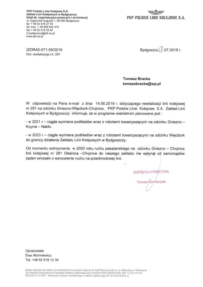 W 2021 roku rusza wywalczony przeze mnie wPKP PLK SA iRządzie RP kompleksowy remont linii koljowej nr281 relacji Gniezno - Nakło n/Not - Więcbork - Chojnice - pozdrawiam Tomasz Roman Bracka 🇵🇱
