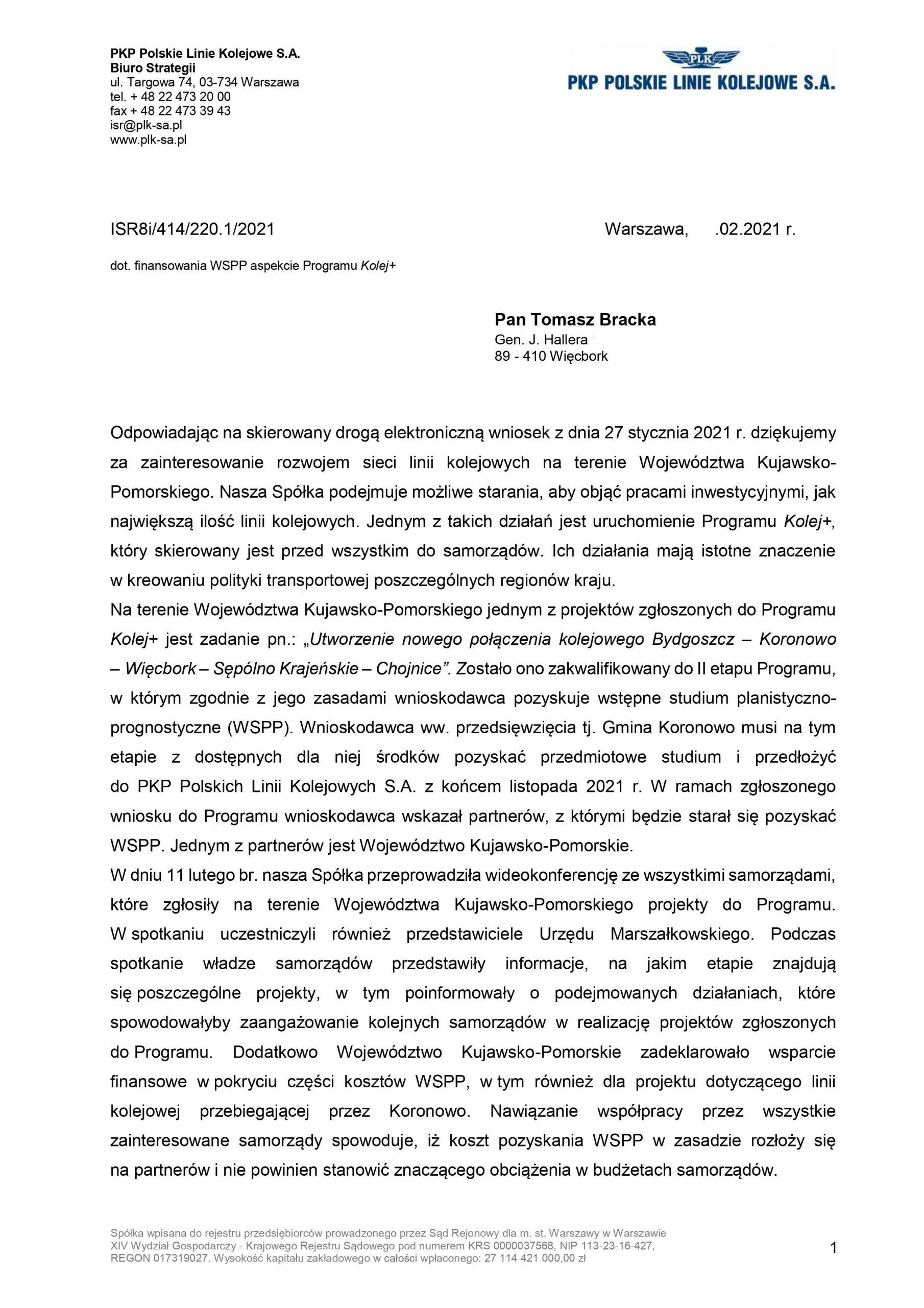 Marszałek Całbecki dofinansuje dokumentacje przedprojektową dla linii kolejowej relacji Bydgoszcz - Pęperzyn - Więcbork - Chojnice, aPKP PLK SA zwróci 85 % kosztów - Tomasz Roman Bracka