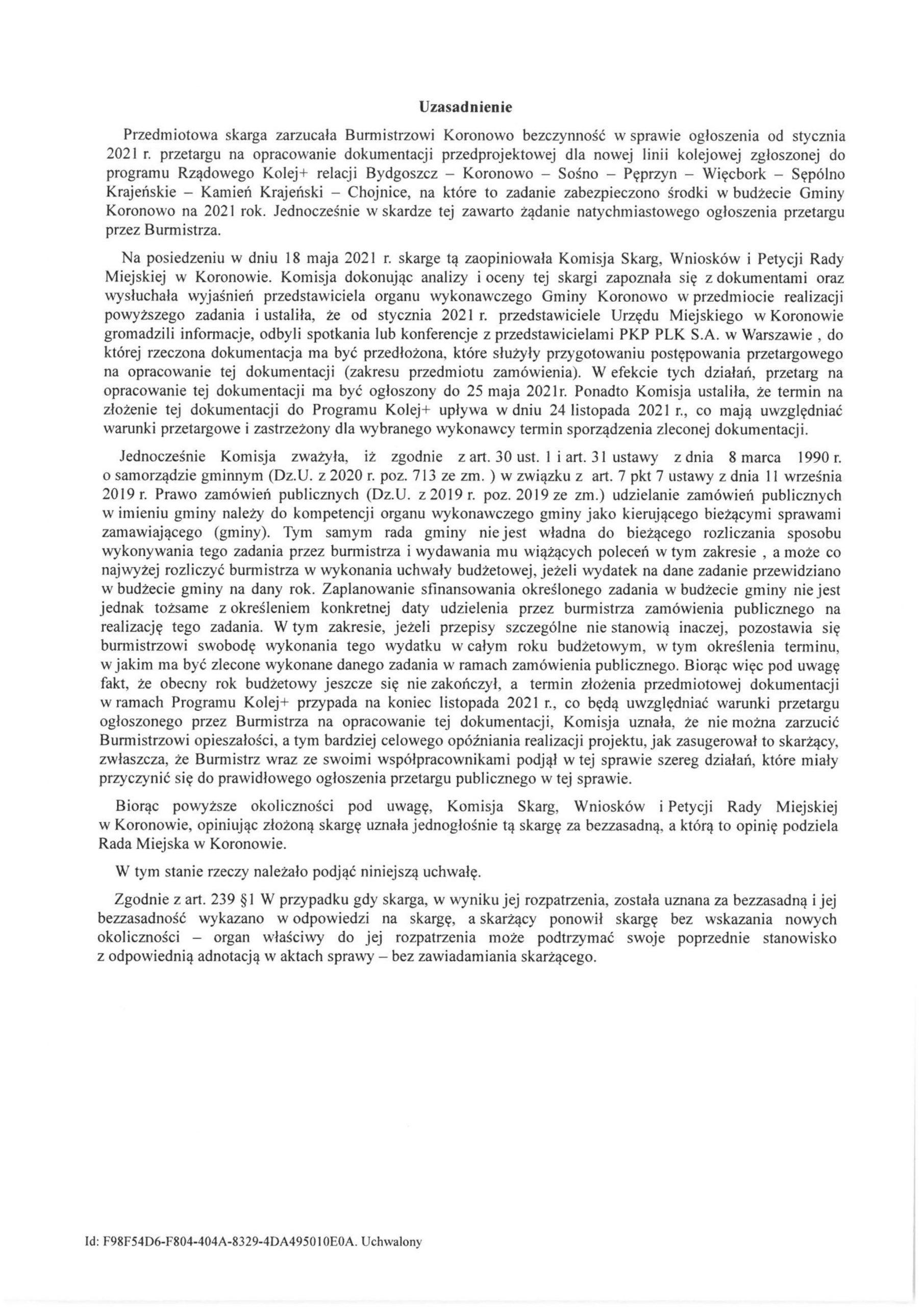 W załączeniu projekt uchwały Rady Miejskiej Koronowa przygotowany namójwniosek Tomasza Romana Bracka najutrzejszą sesję 26 maja 2021 r. wsprawie budowy nowego połączenia kolejowego relacji:Bydgoszcz - Koronowo - Sośno - Pęperzyn - Więcbork Sępólno Kr. - Kamień Kr. Chojnice ! Dla tejw/w linii kolejowej przetarg naopracowanie dokumentacji technicznej zostanie ogłoszonych dodziś 25 maja 2021 r. wUM wKoronowie, co wynika wprost zuzasadnienia w/w uchwały, którą podejmie jutro RM Koronowa. Wartość inwestycji 700 000 000 zł - Tomasz Toman Bracka