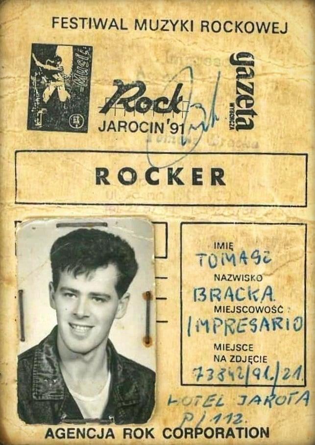 Mój karnet zFestiwalu wJarocinie z1991 r. pozdrawiam Tomasz Roman Bracka