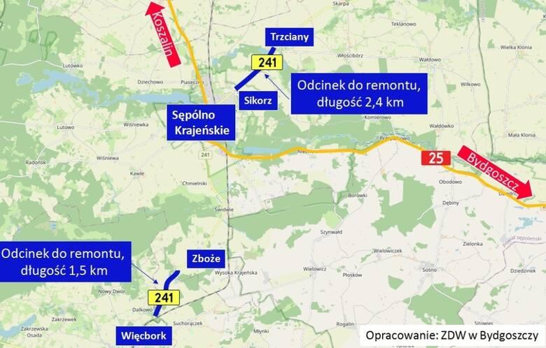 Dziś rozpoczęła się wywalczona przeze mnie nakazami pokontrolnymi WINB Bydgoszcz przebudowa drogi wojewódzkiej nr241 naodcinku Więcbork - Zboże iTrzciany-Sikorz. Inwestycje wykonuje firma drogowa zPruszkowa - foto Tomasz Roman Bracka