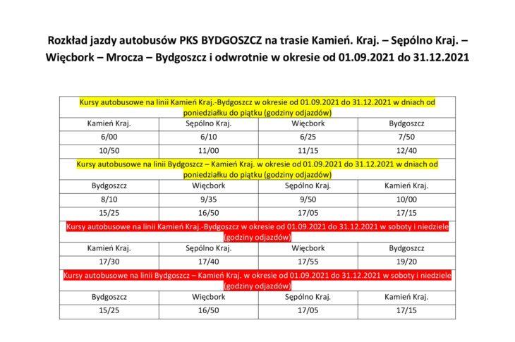 Rozkład jazdy autobusów z Więcborka do Bydgoszczy i z Bydgoszczy do Więcborka od 1 września 2021 r. do 31.12.2021 r. Tomasz Roman Bracka